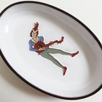 Oval Dish w/Raised Lute Player Design~Unknown Mark