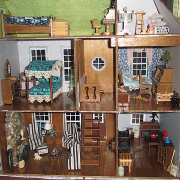 Vintage Victorian Dollhouse Electrified & Collapsible, Fully Furnished - Dolls