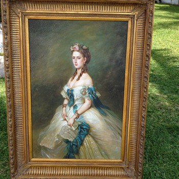 antique oil painting,  Portrait - Art Deco
