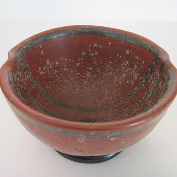 Early Black Painted Lines on Red Pottery Bowl - Art Pottery