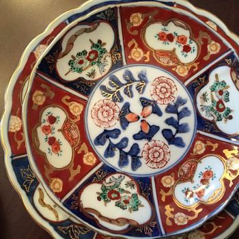 Gold Imari 6 tea cups and 6 small plates 2 big plates 1 chipped