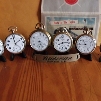 Group shot of a Few RailRoad Pocket Watches