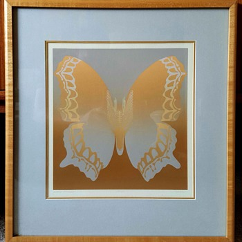 "Butterfly Print ""Gray Comma"" by Kroas/still researching artist - Mid-Century Modern"