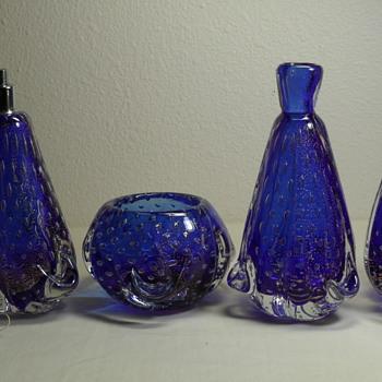 Cobalt Blue Aventurine Bullicante 4pc set.  Venetian Glass.