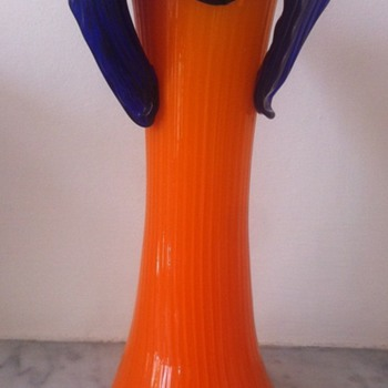 Kralik ribbed tango and applied blue glass Deco vase