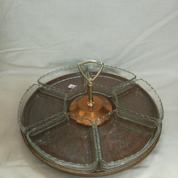 Mid Century Lazy Susan condiment server