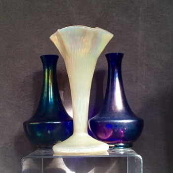 Kralik Mother of Pearl Martele Trumpet Vase  - Art Glass