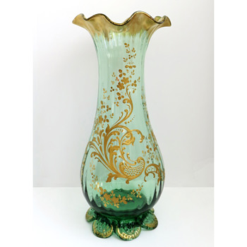 Legras et Cie Gilt Rococo Footed vase - Art Glass