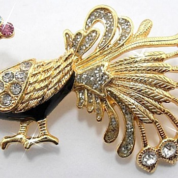 Large Peacock Brooch, Very Nice