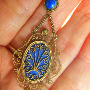 Antique Georgian Blue Enamel Gilt Silver Lavaliere 14k Swedish? Austro-Hungarian? HELP - Fine Jewelry
