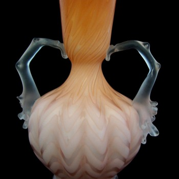 Mt. Washington Herringbone Art Glass Thorn Handled Vase - Art Glass
