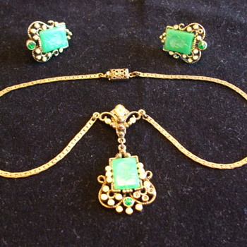 Old Czech Necklace and Earrings- To Clean or not to Clean? - Costume Jewelry
