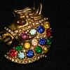 Jeweled Gold Tone Horse head Brooch
