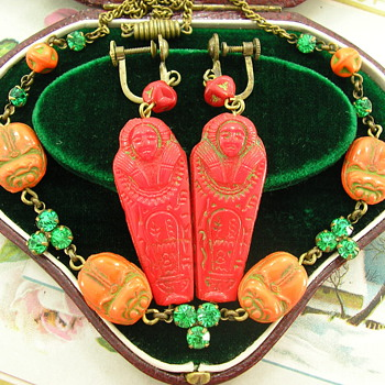 Art Deco Egyptian Revival Czech Glass Necklace Lucky Scarab & Mummy Earrings - Costume Jewelry