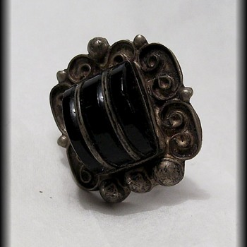 Single Old Earring -- Jet Black ??  Sterling Silver ??