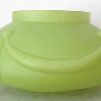 Kralik satin uranium glass quilted rosebowl - Art Glass