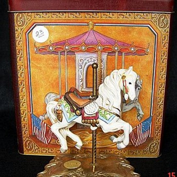 Tobin Fraley Carousel Horse In Large Painted Tin Box - Figurines