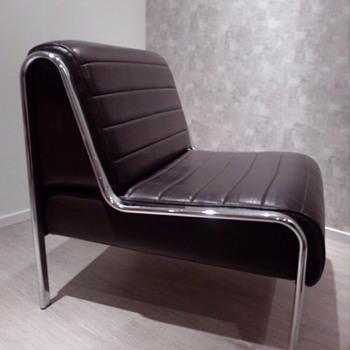 Easy chair lounge mid century chrome tube frame vintage - Furniture
