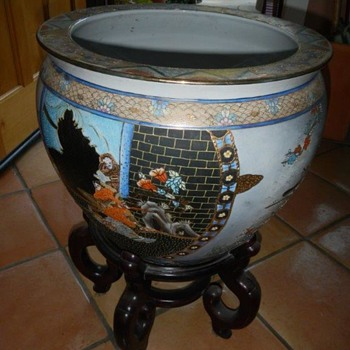 Asian Vintage Fish Bowl Planter