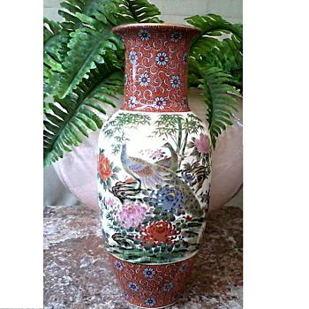 "Japanese ""Shibata"" Polychrome and Gilt 12"" Vase/Peacock and Bamboo Floral Design/Circa 20th Century - Asian"