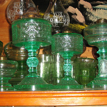 Pair of Apple Green Two panel Oil lamps, Apple Green Aquarius Oil Lamp & finger version Aquarius - Lamps