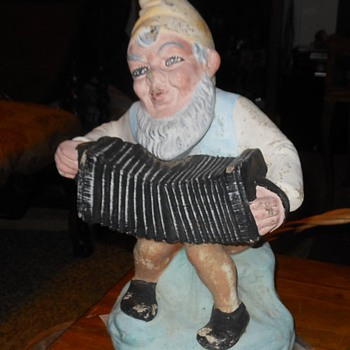 Vintage Garden Gnome Playing Accordion - Figurines