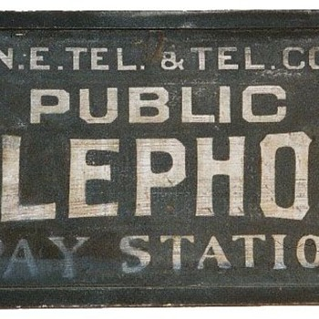 N.E. Tel. &amp; Tel. Co. Public Telephone Pay Station Rectangle Sign