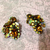 Weiss? Rhinestone clip earrings in amber colour