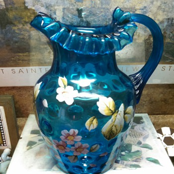 Victorian inverted thumbnail floral blue pitcher - Art Glass