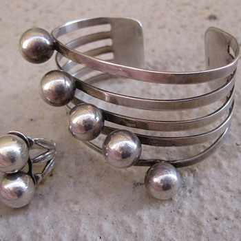 Machine-age sterling cuff and ring - Fine Jewelry