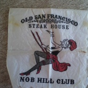Very Vintage Cocktail Napkin of Nob Hill Club Old San Francisco
