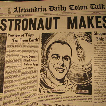 Front page news of Alan Shepard Jr and Freedom 7 - Paper