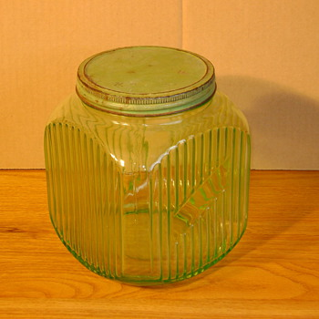 Vaseline Glass Hoosier Jar