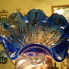Blue/Crystal swirled Centerpiece Bowl