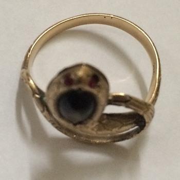 Antique Black Star Sapphire Snake Ring