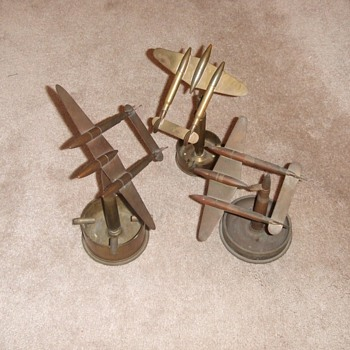 Trio of P-38 Trench Art Ashtrays - Military and Wartime