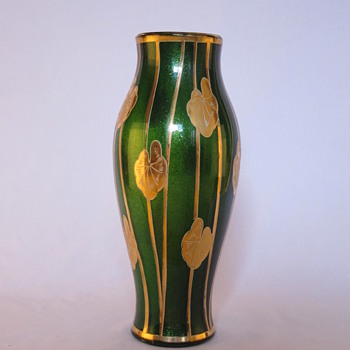 Deep Green Striped Sparkly Vase - Art Glass