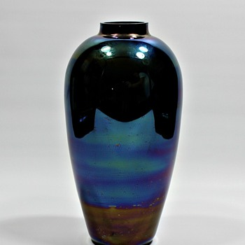 Mystery Opaque Dark Blue Glass Vase - Art Glass