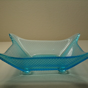 Candy Dishes ~ Blue and Clear w/ Gold Trim - Glassware