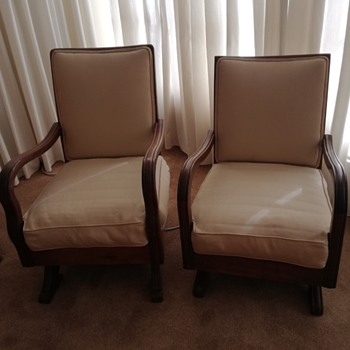 Vintage Male & Female platform rocking chairs