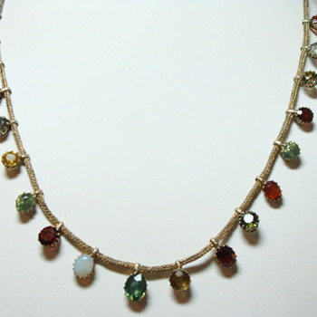 Edwardian Multi Stone Dangle Necklace