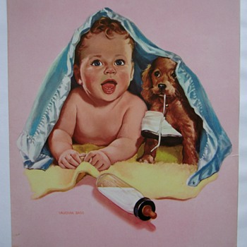 Vintage little baby boy illustration. - Posters and Prints