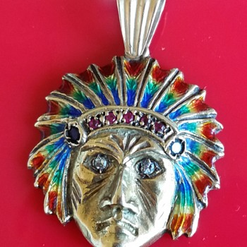 18kt Gold Native American Head With Diaming,Ruby,& Sapphire Jewels - Fine Jewelry