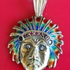 18kt Gold Native American Head With Diaming,Ruby,& Sapphire Jewels