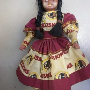 Vintage Washington Redskins American Indian Doll  Football  - Dolls