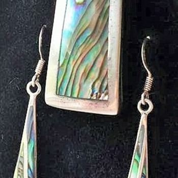 Sterling Silver & Abalone-Necklace & Earrings