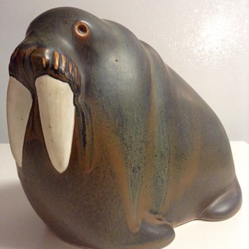 Arabia Finland Porcelain Walrus Sculpture by Taisto Kaasinen - Art Pottery