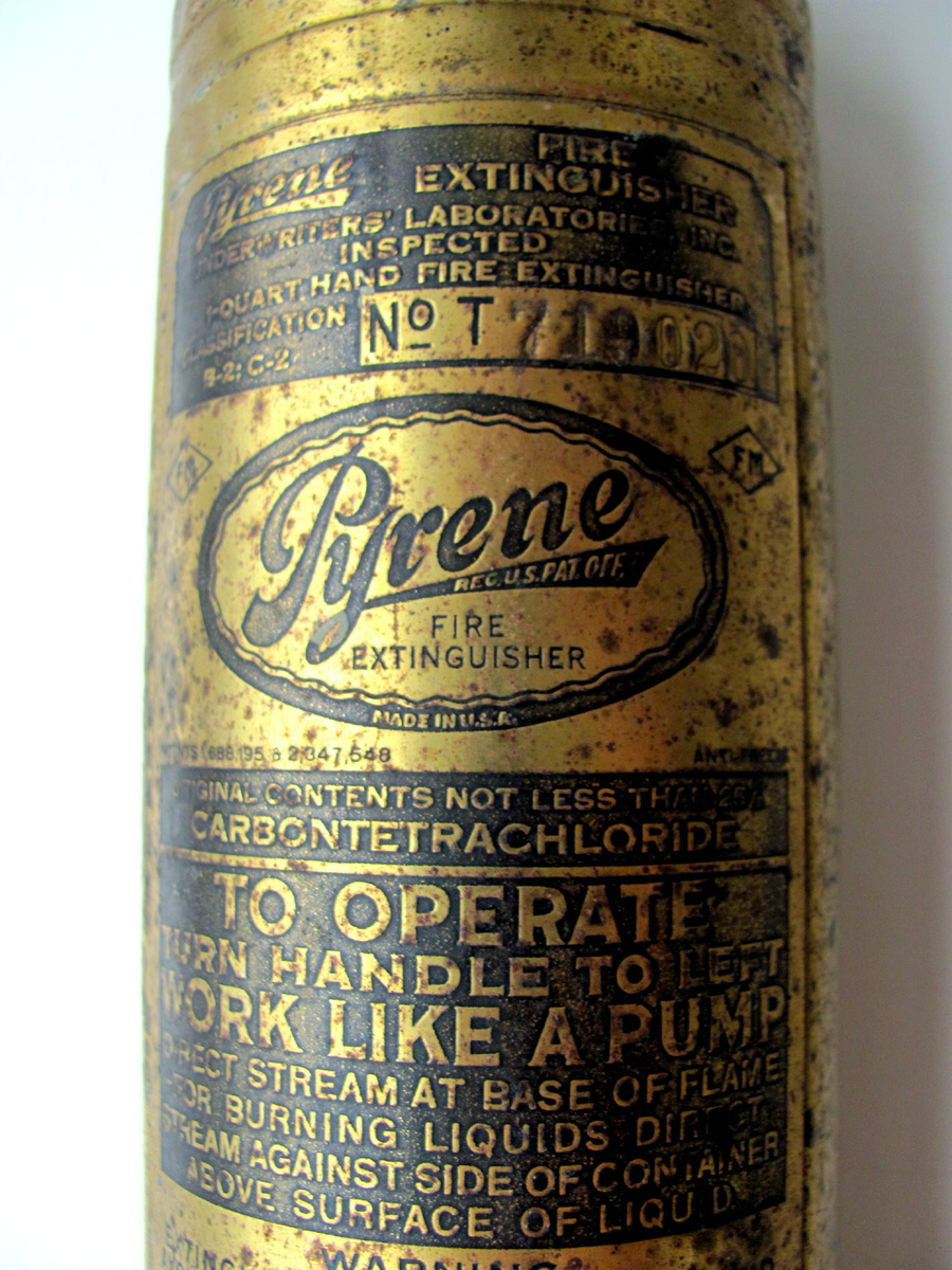 Old Brass Pyrene Fire Extinguisher Still Full