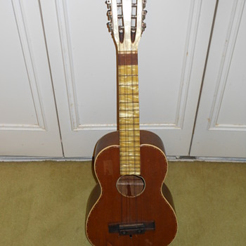 Vintage 10 String Ukulele with what appears to be Mother of Pearl inlay - Musical Instruments