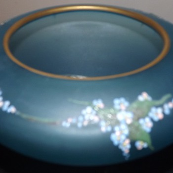 cased blue vase with enameled  painted flowers - Art Glass